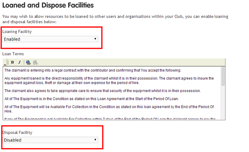 Loaning and Disposal Facilities settings
